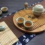 Round Bamboo tea tray with drain hole