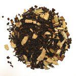 Masala Chai black tea with bay leaves, cinnamon, ginge, cardamon, fennel, anise, cloves, black pepper